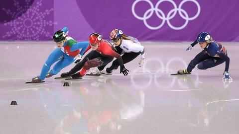 L'accrochage entre Kim Boutin et la Sud-Coréenne Choi Min-jeonen en finale du 500 m