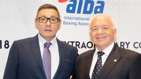 Le nouveau président de l'AIBA, Gafur Rakhimov, et Franco Falcinelli.