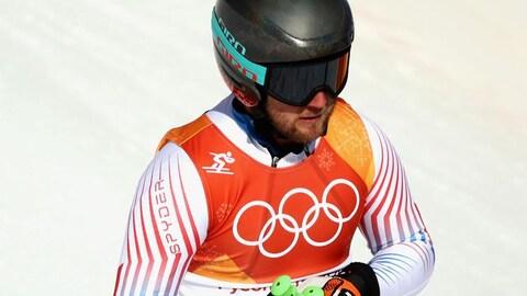 Andrew Weibrecht à l'arrivée du super-G des Jeux olympiques de 2018