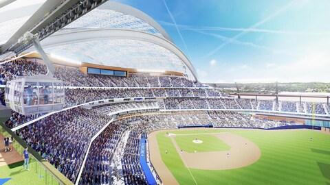 Représentation du futur stade de baseball à Portland