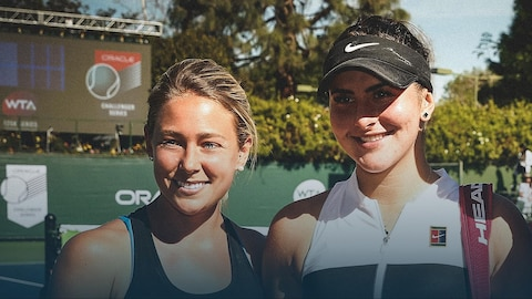 Virginie Tremblay et Bianca Andreescu se tiennent côte à côte et sourient.