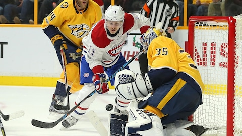 Brendan Gallagher devant Pekka Rinne