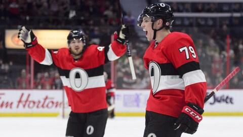 Drake Batherson a marqué un but à son premier match dans la LNH.