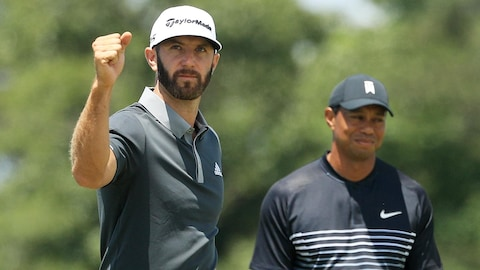 Dustin Johnson et Tiger Woods