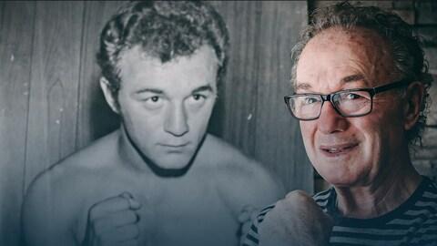 Fernand Marcotte pose devant une photo de lui à l'époque où il était boxeur.