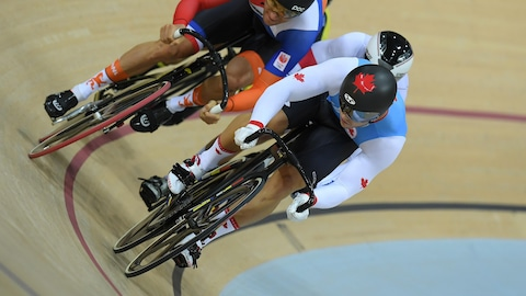 Hugo Barrette en action au keirin