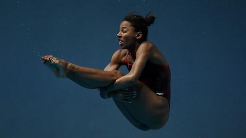 Jennifer Abel en action aux Championnats du monde de la FINA, à Gwangju, en Corée du Sud.