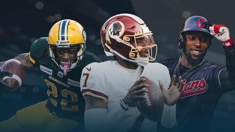 Des joueurs des Eskimos d'Edmonton, des Redskins de Washington et des Indians de Cleveland
