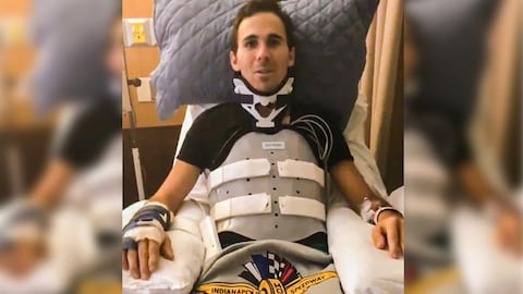 Robert Wickens enregistre un message vidéo de son lit d'hôpital.