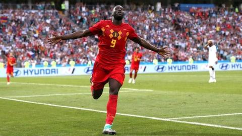 Romelu Lukaku célèbre son doublé lors du match contre le Panama.