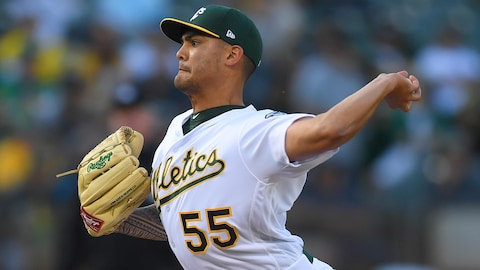 Le lanceur des Athletics d'Oakland Sean Manaea