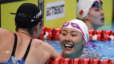 La Chinois Liu Xiang, tout sourire après son exploit