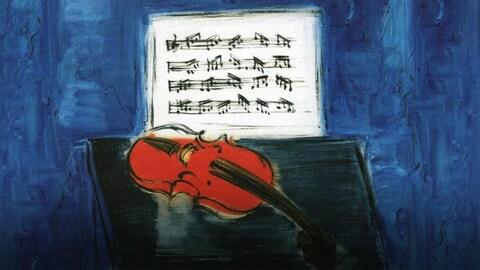 Peinture montrant un violon rouge sur fond bleu, avec une partition au-dessus