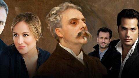 De gauche à droite : Marc Boucher, Julie Boulianne, Gabriel Fauré, Olivier Godin, Antonio Figueroa, Hélène Guilmette