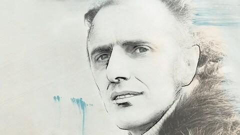 Photo noir et blanc de Gille Vigneault, dans sa jeunesse. Des traits de crayon noir ont été ajoutés ici et là sur son profil.