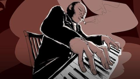 Un pianiste jazz fumant une drôle de cigarette