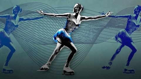 Une patineuse artistique en robe blanche et bleue devant un filigrane de portées distortionnées