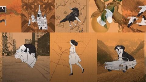 Douze dessins représentants des chansons de Léo Ferré.