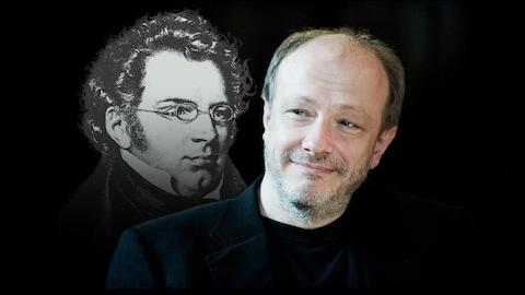 De gauche à droite : Portrait de Schubert et photo de Marc-André Hamelin