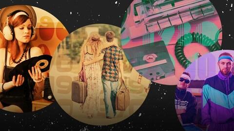 Les logos des webradios : une fille qui regarde un vinyle pour les années 60, des hippies tenant des valises pour les années 70, une cassette et un ghetto-blaster pour les années 80, un gars en costume de sport mauve et turquoise pour les années 90 et une fille très glamour avec des écouteurs pour les années 2000.