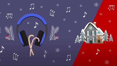 Une paire d'écouteurs avec des cannes de Noël et une maison enneigée.