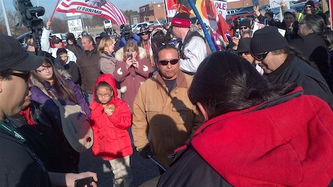Des manifestants du mouvement Idle No More à Windsor