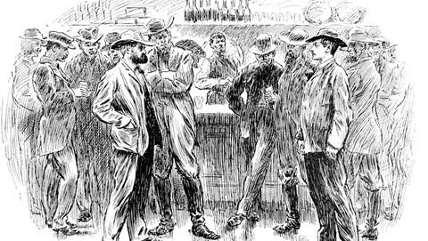 Deux hommes coiffés d'un chapeau se font face dans un bar.