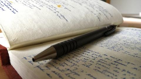 Un cahier de notes est rempli de gribouilllis à l'encre bleue.