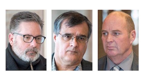 Les trois accusés du procès de la tragédie de Lac-Mégantic : Jean Demaître, Richard Labrie et Thomas Harding.