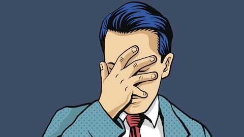 illustration montrant un homme se mettant la main au visage.