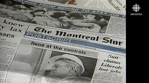 Une première page du journal « The Montreal Star » montrant une photo du premier ministre du Québec René Lévesque.