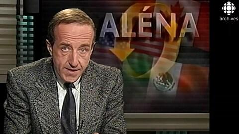 L'animateur Bernard Derome annonce le paraphe de l'ALENA en octobre 1994.