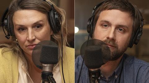 Judith Fetzer et Blaise Rémillard au micro de Catherine Perrin.