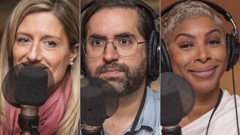 Nadia Gagnier, Samuel Archibald et Varda Étienne au micro de Catherine Perrin.