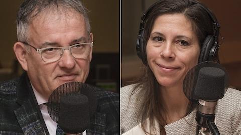 Réjean Hébert et Stéphanie Côté au micro de Catherine Perrin.