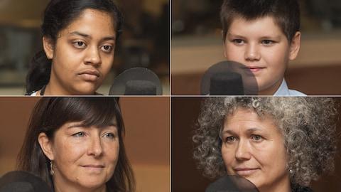 Sumaiya, Elisei, ainsi que les enseignantes Chantal Labrie et Maryline Beuchot, au micro de Stéphan Bureau.