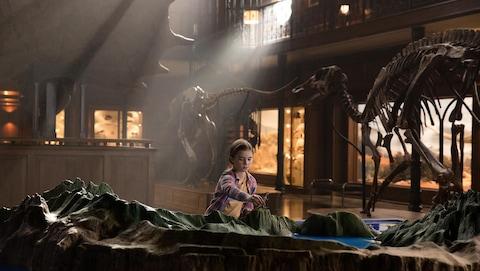 Une fillette joue avec des dinosaures.
