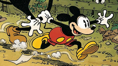 Mickey Mouse tire Horace par la main.