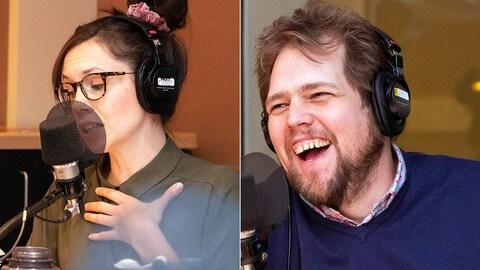 La comédienne Marie-Ève Trudel parle dans un micro, et le comédien Guillaume Cyr rit devant un micro.