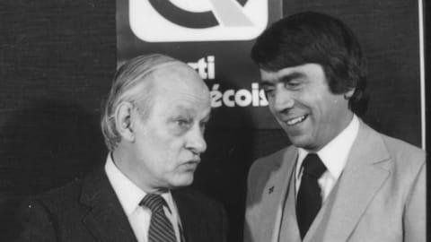 René Lévesque et François Gendron lors des débuts de ce dernier en politique provinciale.