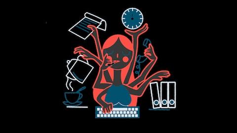 L'illustration d'une femme qui, grâce à ses six bras, accomplit plusieurs tâches à la fois.