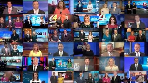 Une vidéo mise en ligne par  Deadspin  superpose les images de différents téléjournaux de Sinclair Broadcast Group