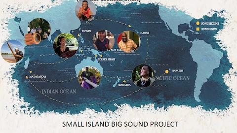 La carte des pays dont sont issu les musiques du Small Island Big Sound project