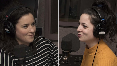 Les sœurs Virginie et Corinne Fortin sont de passage dans un studio de Radio-Canada, à Montréal, en décembre 2017.