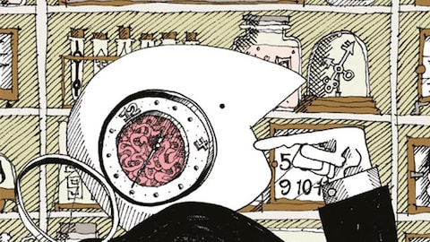 Dessin d'un personnage devant des horloges.