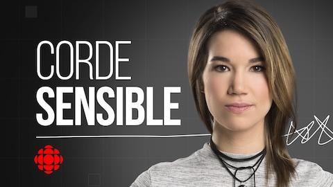 Le visage de Marie-Eve Tremblay accompagné du logo de Corde sensible.