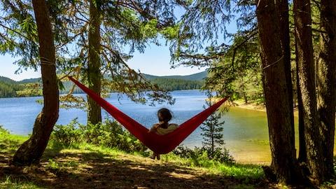 Une jeune femme observe la nature assise dans un hamac.