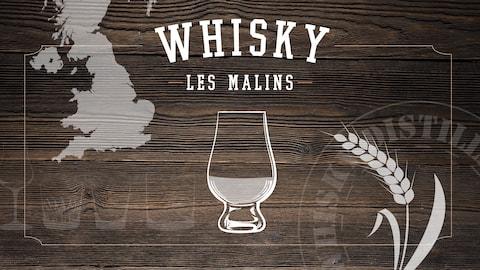 Une image montrant un verre de whisky et les îles britanniques.