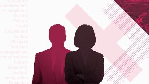 Image stylisée des silhouettes de deux candidats sur fond blanc, avec des « X » roses en arrière-plan.