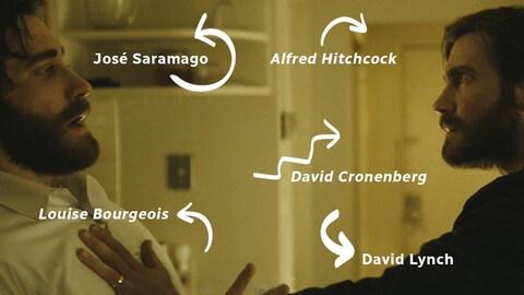 Les sources d'inspiration de Ennemi sur une photo du film montrant deux jumeaux face à face.